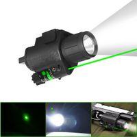 HQ CREE LED lampe de poche tactique laser vert vue lumière stroboscopique pour pistolet Fusil Glo ck G17 G19 20 mm Rail Mount Shotgun 200 Lumens GRATUIT