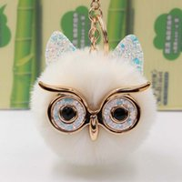 Adorável Lantejoula Ear Owl Chaveiros For Girls Boy Fluffy pele falsa Bola animal Pompon Chaveiro Charme Mulheres Bag Key presente Ring