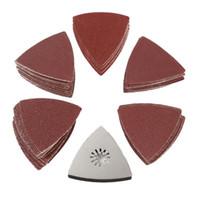 Hojas 100PCS 80MM Triángulo Papel de lija para pulir discos de arena 60-240 Grit Disco de lijado w / Lijado Pad para herramientas de pulido de limpieza