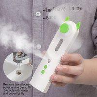 2 em 1 pulverizador de água USB Névoa ventilador elétrico recarregável Handheld Mini Fan Cooling Air Conditioner face Steamer Umidificador de ar livre