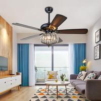 Хрустальные потолочные вентиляторы лампы вентилятор Вуд Подвесные светильники современного дома Спальня Столовая Кровать комната Ресторан Кафе 110V 220V 52inch
