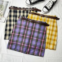 summer female student chic front double split plaid skirt 2020 women cute sweet high waist mini skirts sashes XS-XXL