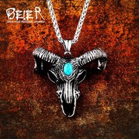 Beier 316L stainless Viking Norse Odin sheep head for Men Amulet scandinavian Necklace pendant animal Jewelry LP415