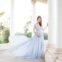 Neue weiße Spitze Mutterschaftskleid Fotografie Requisiten Lange Baumwolle Kleid Schwangere Frauen Elegant Fancy Photo Shoot Studio Kleidung