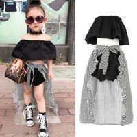 2-7Y Kleinkind-Kind-Baby-Mädchen-Kleidung stellte Sommerschulterfrei Tops T-Shirt mit Shorts Hem Umhang 3Pcs Outfits Kleidung