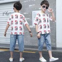 Çocuk Giyim 2020 Yaz Çocuk Boys Giyim Kısa Kollu 2adet Spor Suit Kıyafetler Gençler Erkek Giyim 6 7 8 10 12 Yıl vPNU # ayarlar