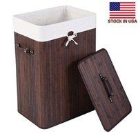 Borsa da stoccaggio Brown Bagno Vestiti sporchi Singolo Corpo del cestino pieghevole di bambù con coperchio Dark Dark Stock