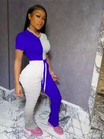 Sıcak kadın 2 İki Adet Kıyafetler harfli t shirt kontrast renk Pileli femme giysiler 00 koşu pantolon spor giysileri flare setleri eşofman