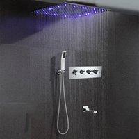 Bagno doccia a pioggia Sistema 16/20/24 pollici soffitto doccia LED dirigono la parete del pannello montato termostatica ad incasso Rubinetti Chrome