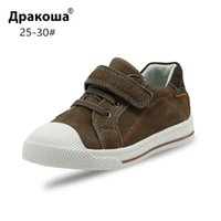 Apakowa Little Kids Leather Low-top Hook and Loop Sneakers for Boys and Girls Outdoor Anti-Slip Casual Sports Running Shoes