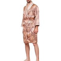 CALOFE más el tamaño 5XL traje de los hombres de verano dormir Robe Kimono impreso manera de la seda de manga larga Un ajuste cómodo masculino ropa de dormir