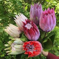 "Fake Single Stem Flocking Emperor Flower 26.38"" Length Simulation Protea Cynaroides for Wedding Home Decorative Artificial Flowers"