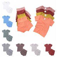 Дети Хлопок Высокая талия Шорты Пижамы для пижамы куртка Baby Boy Baby Boy Girl Pajamas набор из двух частей Осень зима Pajamas Теплые сонные одежда LSK495