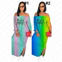 Черный Смарт письмо печати женщин дизайнер длинное платье лето градиент цвета shoulderless макси платья плеча пляжное платье D7613