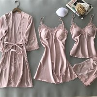 SIMISI 4pcs Nightgown Suit Rayon Solid Lace Sexy Robe Sets w...