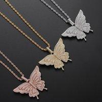 Gold Silber ColorBling CZ-Stein-Schmetterling-hängende Halskette für Männer Frauen mit 24inch Seil Kette Hot Nizza Geschenk für Freund