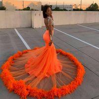 Naranja plumas vestidos de fiesta africanos escarpado profundo en V cuello mayor abalorios de la sirena vestido de noche de manga completa Party Vestidos Tallas grandes