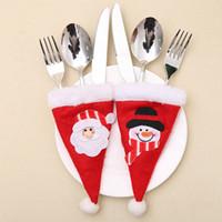 Natale mini bottiglia cappello decorazioni di Natale per casa del supporto Cappello Argenteria Mini Babbo Natale rosso posate Capodanno Forniture 897.797