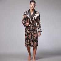Bathrobe de Dragão de Verão para Homens Imprimir vestes de seda Masculino Sênior Sleetwear Sleepwear Cetim Pijama Long Kimono Homens Bathrobe