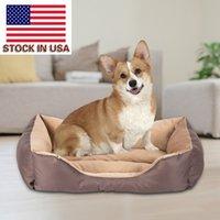حصيرة المنزل بيت الكلب بيت الكلب القط السرير القمامة سهلة وسادة القطن مقاومة الأوساخ مع مربع أفخم قصيرة