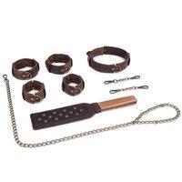 Brown Vintage-Pull-Up-Leder Sex Bdsm Bondage Set 4pcs verhauen Paddel Halsbänder Fesselhandschellen für Sex-Spielzeug für Paare Y200616