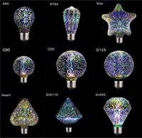 Креативные красочные светодиодные лампы 3D фейерверк звездное декоративные лампы накаливания лампы A60 ST64 G80 G95 G125