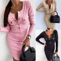Women Long Sleeve Club Button Ribbed Pencil Sexy Party Bodyc...