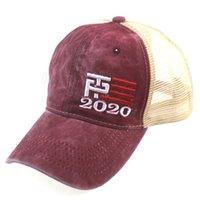 도널드 트럼프는 2020 야구 모자 패치 워크 아웃 도어 만들기 미국의 위대한 다시 모자 공화당 대통령 메쉬 스포츠 모자 세척 FFA4250-6