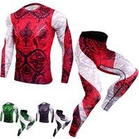 2020 Sport Costume Hommes manches longues T-shirts Pantalons de compression Running Set Men Bodybuilding Rashguard Gym Fitness Survêtements