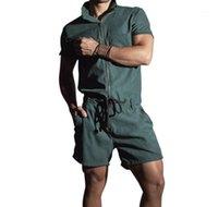 Короткие рукава балахонах New Mens Летняя одежда Mens конструктора Комбинезоны Брюки Повседневный Zipper Stand Collar