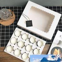 10 pezzi contenitore di bigné con finestra Libro bianco Brown kraft box Scatole Dessert Mousse 12 Cup Cake titolari grossisti personalizzati