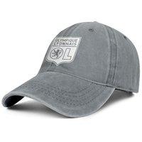Şık Olympique Lyonnais Les Gones OL Prue Beyaz Unisex Denim Beyzbol Şapkası Tasarımı Kendi Klasik Şapkalarınızı Tasarlayın Flaş Altın Bayrak Etiketi Eşcinsel Gri