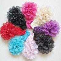 Infantil al por mayor Nueva bebés Dot vendas de la flor de la gasa de la manera de los niños Headwear elástico Hairbands niños Accesorios para el cabello