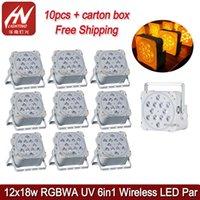 10 Adet Optio Pil Par Işık 12x18 W RGBWAV 6in1 LED Düz DJ Kablosuz DMX Wifiremote Ile Düğün DJS Parti için Uplighting
