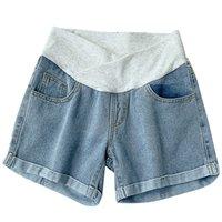 Fondos de maternidad 2021 Pantalones cortos de mujer embarazada Desgaste de verano Denim de cintura baja Pantalones sueltos para mujer