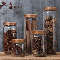 350/650 / 950 мл / 1250ml / 1550ml Bamboo Стеклянная крышка Герметичные бутылки канистры для хранения Кувшины Grains Tea Leaf Coffee Beans Candy Food Jar DHA459