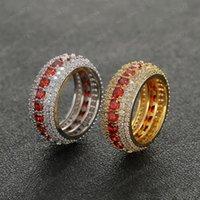 Hip Hop anéis de ouro chapeado para Man Cubic Zirconia Red Gem Hiphop Anel Mens Fashion Jóias