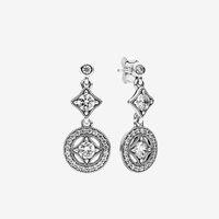 Аутентичные 925 стерлингового серебра CZ алмаз диск Подвеска мотаться серьги Женщины подарка венчания с первоначально коробкой для Pandora серьги стержня