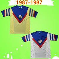 Retro 1987 Amerika Meksika Kulübü Ligi CA Futbol Formaları Vintage Camiseta De Futbol Ev Sarı Uzak Beyaz 87 Liga MX Futbol Gömlek