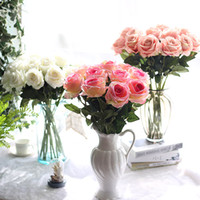 10pcs / серия свадебные украшения Real сенсорный материал Искусственные цветы Букет роз Главная партия украшения Поддельный шелк одиночный стебель цветы Цветочные