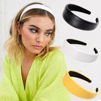 الأزياء 4.3CM على نطاق واسع جلد الشعر Hairband يوميا في الهواء الطلق بسيطة العصابة لون الصلبة البرية اكسسوارات الشعر للنساء الشعر هوب أغطية الرأس