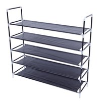 Nero Portable Facile da installare Home Storage Cabinet Semplice Assemblea 5 Tiers Tessuto non tessuto Porta scarpiera con manico USA