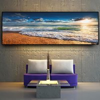 Plage naturelle Coucher de soleil Paysage Affiches et copies murales Art Photos Peinture murale Art pour Salon Home Decor (Frame No)