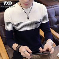 Korean Style Sweater Men Streetwear 2020 Brand Slim fit Striped Knitting Sweaters New Homme Hombre Pullover Mens Clothes