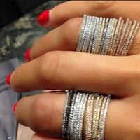الحلو قطع بسيطة الأزياء والمجوهرات 925 الاسترليني silverrosrose الذهب ملء تمهيد الأبيض الياقوت تشيكوسلوفاكيا الماس الخلود المرأة الزفاف الفرقة حلقة هدية