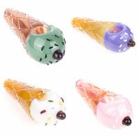 최신 다채로운 아이스크림 파이렉스 두꺼운 유리 흡연 튜브 핸드 파이프 휴대용 고품질 수제 건조한 허브 담배 오일 rigs 봉 파이프 DHL