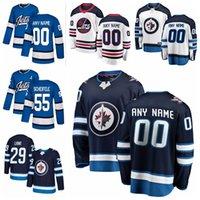 2019 Winnipeg Jets caliente perforación 29 Patrik Laine 26 Blake Wheeler 55 Marcos Scheifele para hombre Personalizar cualquier número cualquier jerseys nombre de hockey