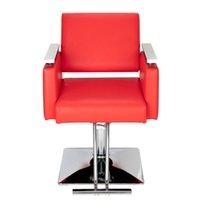 Waco Barber Chair، Salon Square Base Leather Hydraulic تصفيف الشعر الحانة صالون الجمال سبا التصميم شامبو الكراسي حمراء