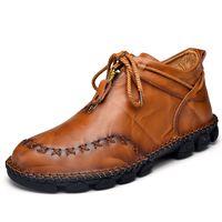 Winterstiefel Männer echtes Leder-Stiefeletten Top-Qualität Warmer Schnee Stiefel Men Fashion Stiefel Chaussure Homme 38-48