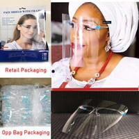 En stock PET écran facial avec verre de sécurité Porte d'huile anti-éclaboussures Anti-UV de protection Visage Couverture transparent Masque verre visage